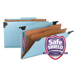 Smead Hanging Classification Folder, 6 Section, Blue Pressboard, Legal