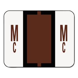 Smead A-Z Color-Coded Bar-Style End Tab Labels, Letters Mc, Brown, 500/Roll