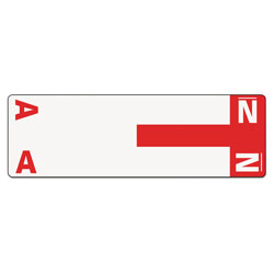 Smead Color Coded Name Labels, First Letter, Red, Letters A&N, 100/Pack