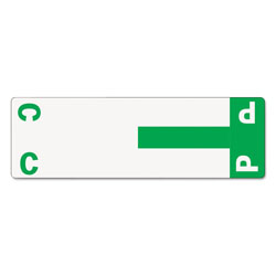 Smead Color Coded Name Labels, First Letter, Dark Green, Letters C&P, 100/Pack