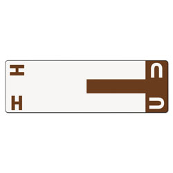 Smead Color Coded Name Labels, First Letter, Dark Brown, Letters H&U, 100/Pack