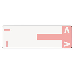 Smead Color Coded Name Labels, First Letter, Pink, Letters I&V, 100/Pack