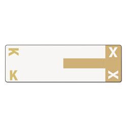 Smead Color Coded Name Labels, First Letter, Light Brown, Letters K&X, 100/Pack