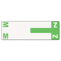 Smead Color Coded Name Labels, First Letter, Light Green, Letters M&Z, 100/Pack