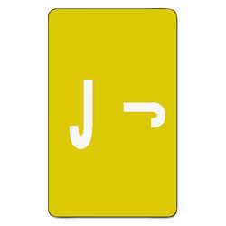 Smead Color Coded Labels, Second Letter, Yellow, Letter J, 100/Pack