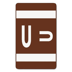 Smead Color Coded Labels, Second Letter, Dark Brown, Letter U, 100/Pack