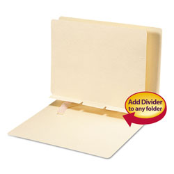 Smead Manila Self-Adhesive Folder Dividers w/Prepunched Slits, 2-Sect, Letter, 100/Box