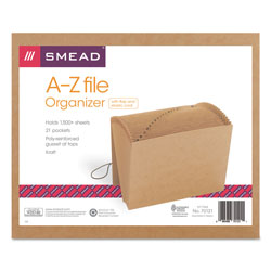 Smead Kraft Expanding File with Flap and Elastic Cord, A Z Index, 12 x 10