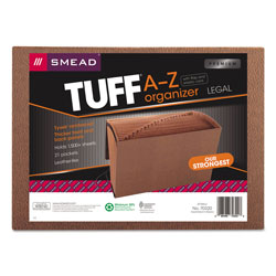 Smead Leather Like Expanding File with Flap and Elastic Cord, A Z Index, 15 x 10