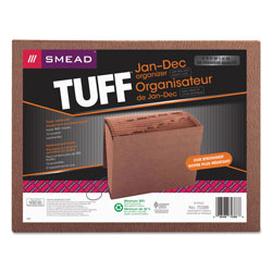 Smead Leather Like Expanding File with Flap & Elastic Cord, Jan. Dec. Index, 12 x 10