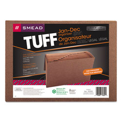 Smead Leather Like Expanding File with Flap & Elastic Cord, Jan. Dec. Index, 15 x 10