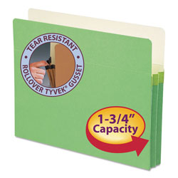 "Smead Colored File Pocket, Letter, Straight Cut, 1 3/4"" Expansion, Green"