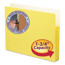 "Smead Colored File Pocket, Letter, Straight Cut, 1 3/4"" Expansion, Yellow"