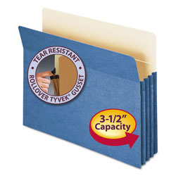 "Smead Colored File Pocket, Letter, Straight Cut, 3 1/2"" Expansion, Blue"
