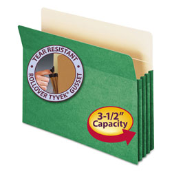 "Smead Colored File Pocket, Letter, Straight Cut, 3 1/2"" Expansion, Green"