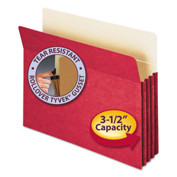 "Smead Colored File Pocket, Letter, Straight Cut, 3 1/2"" Expansion, Red"