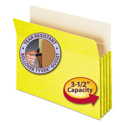 "Smead Colored File Pocket, Letter, Straight Cut, 3 1/2"" Expansion, Yellow"