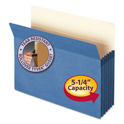 "Smead Drop Front File Pocket, Letter Size, 5 1/4"" Capacity, Blue"
