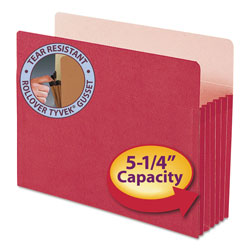 "Smead Drop Front File Pocket, Letter Size, 5 1/4"" Capacity, Red"