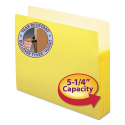 "Smead Drop Front File Pocket, Letter Size, 5 1/4"" Capacity, Yellow"