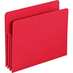"Smead Poly File Pockets, Letter, 3 1/2"" Expansion, Red, 4/Box"
