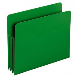 "Smead Poly File Pockets, Letter, 3 1/2"" Expansion, Green, 4/Box"