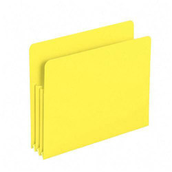 "Smead Poly File Pockets, Letter, 3 1/2"" Expansion, Yellow, 4/Box"