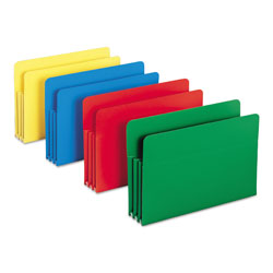 "Smead Poly File Pockets, 3 1/2"" Expansion, Legal Size, Assorted Colors, 4/Box"