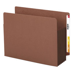 "Smead Redrope End Tab File Pockets, Dark Brown, Tyvek Gusset, 5 1/4"" Expansion, 10/Box"