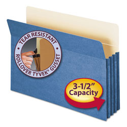 "Smead Colored File Pocket, Legal, Straight Cut, 3 1/2"" Expansion, Blue"