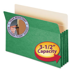 "Smead Colored File Pocket, Legal, Straight Cut, 3 1/2"" Expansion, Green"