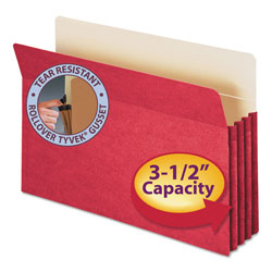 "Smead Colored File Pocket, Legal, Straight Cut, 3 1/2"" Expansion, Red"