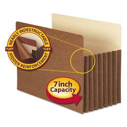 "Smead Pocket® Redrope File Pockets, Legal, Straight Cut, 7"" Exp., 5/Box"