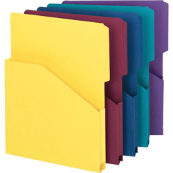 "Smead Slash Pocket Recycled Jackets, 1"" Exp., Letter, 2/5 Cut Tab, Asst. Colors, 5/Pack"