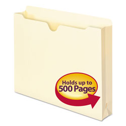 "Smead Manila Recycled File Jackets, Single Ply Tab, 2"" Expansion, Letter, 50/Box"
