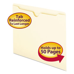 Smead Heavyweight Manila File Jackets, Double Ply Tab, Flat, Letter, 100/Box