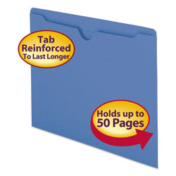 Smead Colored Recycled File Jackets, Double Ply Tab, Flat, Letter, Blue, 100/Box