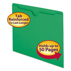 Smead Colored Recycled File Jackets, Double Ply Tab, Flat, Letter, Green, 100/Box