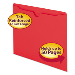Smead Colored Recycled File Jackets, Double Ply Tab, Flat, Letter, Red, 100/Box
