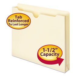 "Smead Heavyweight Manila File Jackets, Double Ply Tab, 1 1/2"", Letter, 50/Box"
