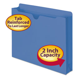 "Smead Colored Recycled File Jackets, 2 Ply Tab, 2"" Expansion, Letter, Blue, 50/Bx"
