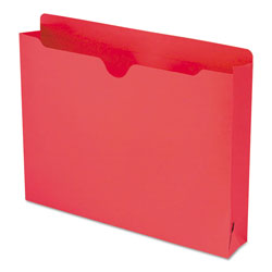 "Smead Colored Recycled File Jackets, Double Ply Tab, 2"" Expansion, Letter, Red, 50/Box"