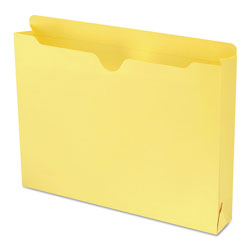 "Smead Colored Recycled File Jackets, 2 Ply Tab, 2"" Expansion, Letter, Yellow, 50/Bx"