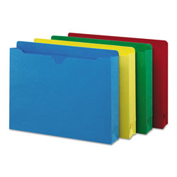 "Smead Assorted Color Recycled File Jackets, 2 Ply Tab, 2"" Expansion, Letter, 50/Box"