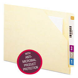 Smead Antimicrobial Heavyweight Manila End Tab File Jackets, 11 pt., Flat, 100/Box