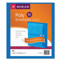 Smead Expandable Poly String Tie Envelopes, Side Load, Blue, 5/Pack
