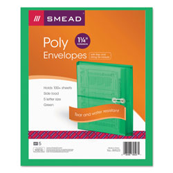 Smead Expandable Poly String Tie Envelopes, Side Load, Green, 5/Pack