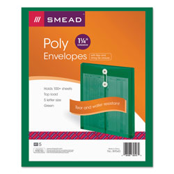 Smead Expandable Poly String Tie Envelopes, Top Load, Green
