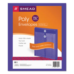 Smead Expandable Poly String Tie Envelopes, Top Load, Purple