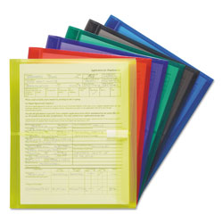 "Smead Poly Side Load Envelopes/Hook & Loop, 1 1/2"" Gussets, Letter, 6 Pk, Asst Colors"